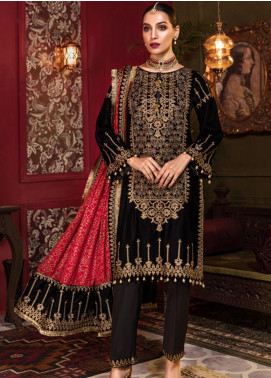 Tehzeeb by Mohagni Embroidered Velvet Unstitched 3 Piece Suit TMO19V 1 - Luxury Winter Collection