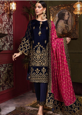 Tehzeeb by Mohagni Embroidered Velvet Unstitched 3 Piece Suit TMO19V 2 - Luxury Winter Collection