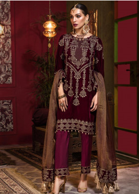 Tehzeeb by Mohagni Embroidered Velvet Unstitched 3 Piece Suit TMO19V 3 - Luxury Winter Collection