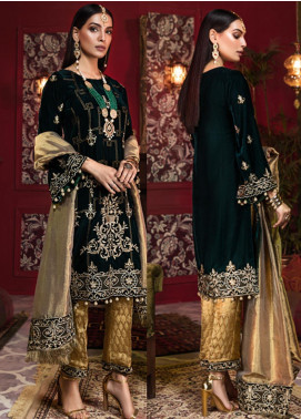 Tehzeeb by Mohagni Embroidered Velvet Unstitched 3 Piece Suit TMO19V 4 - Luxury Winter Collection