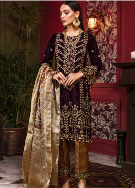 Tehzeeb by Mohagni Embroidered Velvet Unstitched 3 Piece Suit TMO19V 5 - Luxury Winter Collection
