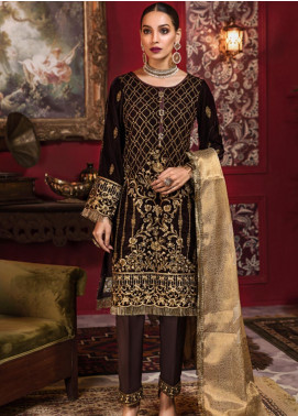 Tehzeeb by Mohagni Embroidered Velvet Unstitched 3 Piece Suit TMO19V 6 - Luxury Winter Collection