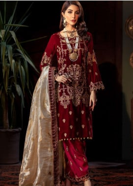 Tehzeeb by Mohagni Embroidered Velvet Unstitched 3 Piece Suit MO20TV 05 - Winter Collection