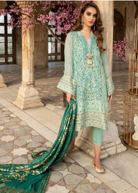 Tena Durrani Embroidered Chiffon Unstitched 3 Piece Suit TD19F 10 - Formal Collection