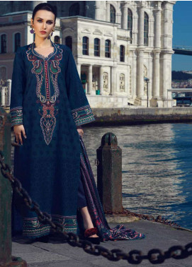 Tena Durrani Embroidered Lawn Unstitched 3 Piece Suit TD19L 4A DINA BLUE - Spring / Summer Collection