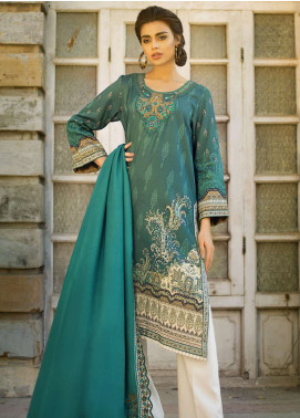 Tena Durrani Embroidered Linen Unstitched 3 Piece Suit TD18W 05 - Winter Luxury Collection