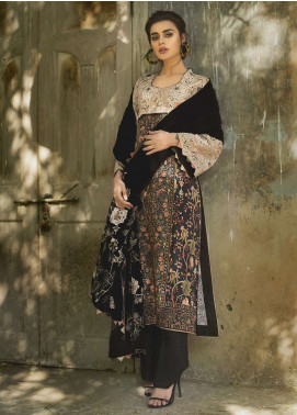 Tena Durrani Embroidered Linen Unstitched 3 Piece Suit TD18W 1A - Winter Luxury Collection