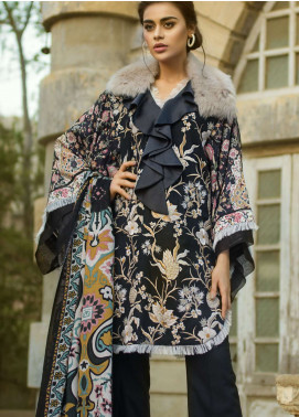 Tena Durrani Embroidered Linen Unstitched 3 Piece Suit TD18W 4B - Winter Luxury Collection