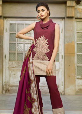 Tena Durrani Embroidered Linen Unstitched 3 Piece Suit TD18W 8B - Winter Luxury Collection