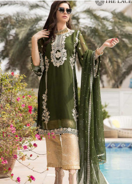 The Lace Embroidered Chiffon Stitched 3 Piece Suit 37 Serene Green
