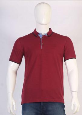 Sanaulla Exclusive Range Jersey Polo Men T-Shirts - Maroon TKM18S 317-05