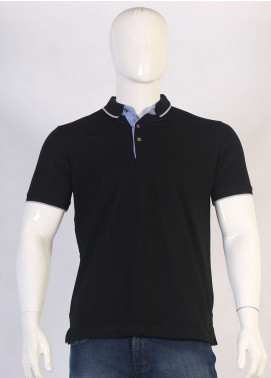 Sanaulla Exclusive Range Jersey Polo Men T-Shirts - Black TKM18S 317-10