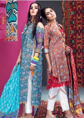 Gul Ahmed Printed Lawn Unstitched 2 Piece Suit GA18L TL-140B - Essential Collection