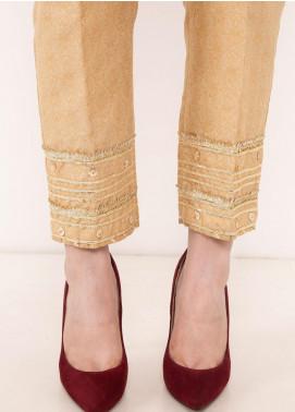 Kross Kulture Textured Raw Silk Stitched Trousers 198064 B Golden