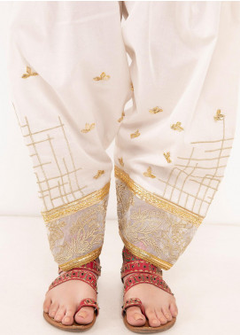 Kross Kulture Textured Cambric Stitched Trousers TR-198047 B White