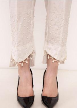 Kross Kulture Textured Silk Stitched Trousers TR-198057 B White