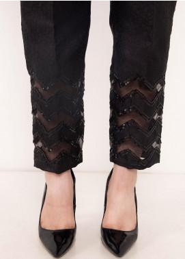 Kross Kulture Textured Jamawar Stitched Trousers TR-198069 B Black