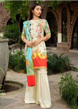Umang by Motifz Embroidered Lawn Unstitched 3 Piece Suit UMT20L 2544 Lemon Yellow - Summer Collection