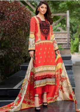 Umang by Motifz Embroidered Lawn Unstitched 3 Piece Suit UMT20L 2561 Red - Summer Collection