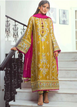 Vasl by Asim Jofa Embroidered Cotton Net Unstitched 3 Piece Suit AJ20LF 04 - Luxury Collection