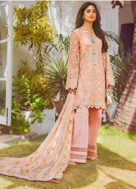 Vasl by Asim Jofa Embroidered Net Unstitched 3 Piece Suit AJ20LF 07 - Luxury Collection