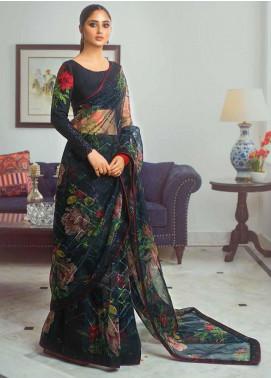 Vasl by Asim Jofa Embroidered Organza Unstitched Saree AJ20LF 09 - Luxury Collection