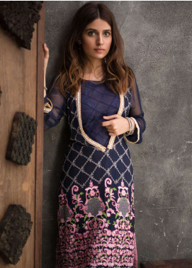 Veena Durrani Embroidered Chiffon Unstitched Kurties VD18EK 07 - Luxury Collection
