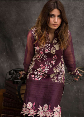 Veena Durrani Embroidered Chiffon Unstitched Kurties VD18EK 09 - Luxury Collection