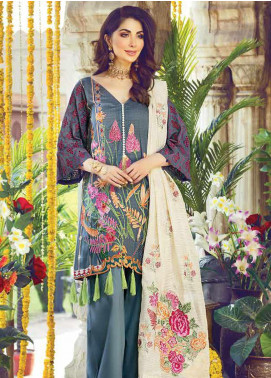 Vesttire Embroidered Lawn Unstitched 3 Piece Suit VS19F-23 PEWTER FLORA - Festive Collection