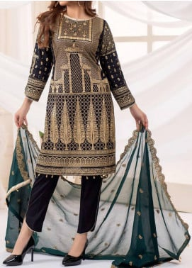 Vital Gold Soiree by AB Textiles Embroidered Cotton Unstitched 3 Piece Suit AB20V 01 Vert Fonce - Formal Collection