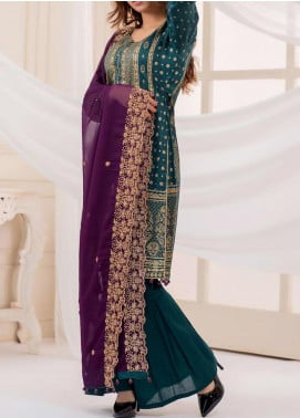 Vital Gold Soiree by AB Textiles Embroidered Cotton Unstitched 3 Piece Suit AB20V 02 Voilette - Formal Collection
