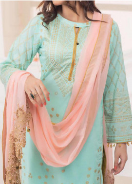Vital Gold Soiree by AB Textiles Embroidered Cotton Unstitched 3 Piece Suit AB20V 04 Rose Clair - Formal Collection