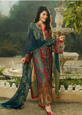 Wajid Khan by Rub Nawaz Embroidered Chiffon Unstitched 3 Piece Suit RN20WK 03 - Luxury Collection