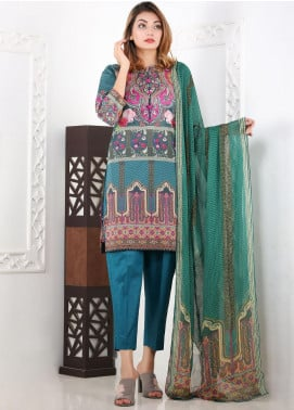 Waniya Printed Lawn Stitched 3 Piece Suit WN20S 01 TEAL BLOOM