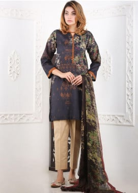 Waniya Printed Lawn Stitched 3 Piece Suit WN20S 02 BLACK FOREST