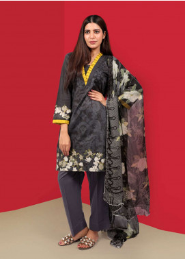Waniya Printed Cotton Unstitched 2 Piece Suit UNS-044 BLACK - Summer Collection