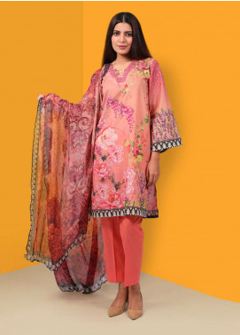Waniya Printed Cotton Unstitched 2 Piece Suit UNS-045 PEACH - Summer Collection