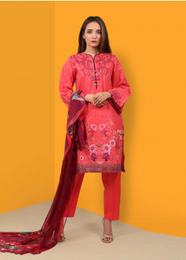 Waniya Printed Cotton Unstitched 2 Piece Suit UNS-046 PINK - Summer Collection