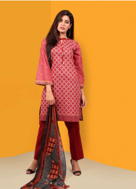 Waniya Printed Cotton Unstitched 2 Piece Suit UNS-047 MAROON - Summer Collection