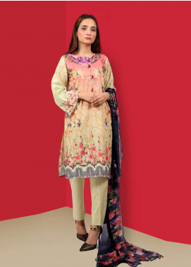 Waniya Printed Cotton Unstitched 2 Piece Suit UNS-052 PISTACHIO - Summer Collection