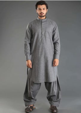 Sanaulla Exclusive Range Wash N Wear Woolen Kameez Shalwar for Men - Grey SKS18W 09