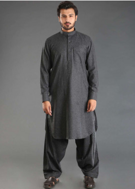 Sanaulla Exclusive Range Wash N Wear Woolen Kameez Shalwar for Men - Black SKS18W 11