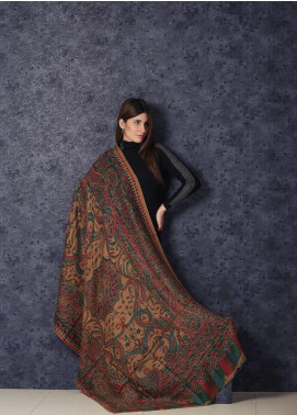 Sanaulla Exclusive Range Woven Acrylic  Shawl MIR-90 Brown - Winter Collection