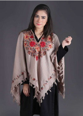 Sanaulla Exclusive Range Embroidered Pashmina Free Size Ponchos 01 - Winter Collection