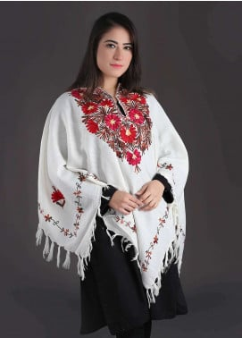 Sanaulla Exclusive Range Embroidered Pashmina Free Size Ponchos 02 - Winter Collection