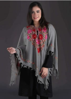 Sanaulla Exclusive Range Embroidered Pashmina Free Size Ponchos 05 - Winter Collection