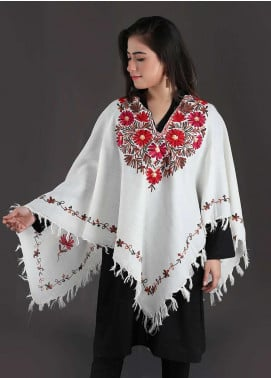 Sanaulla Exclusive Range Embroidered Pashmina Free Size Ponchos 08 - Winter Collection