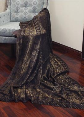 Sanaulla Exclusive Range  Jamawar Tissue Shawl 19-AKP-294 Dark Grey - Winter Collection