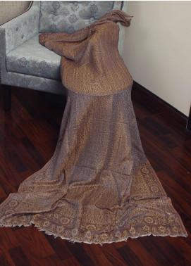 Sanaulla Exclusive Range  Jamawar Tissue Shawl 19-MIR-174 Brown - Winter Collection