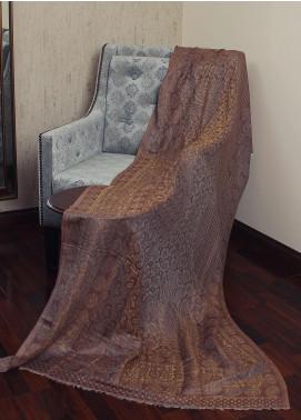 Sanaulla Exclusive Range  Jamawar Tissue Shawl 19-MIR-175 Brown - Winter Collection